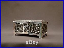 Superbe Coffret Art Nouveau Jugendstil Box, Fleurs Iris Laiton Argente Vers 1900
