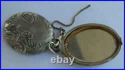 SUPERBE miroir pendentif en argent ART NOUVEAU Décor floral Paul REMINEL 1893