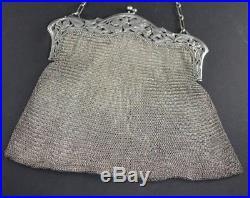 Sac aumônière art nouveau en argent massif (antique french silver handbag)