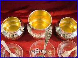 Salerons et moutardier avec cuillères époque Art-nouveau argent massif Minerve