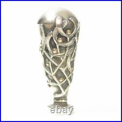 Sceau à cacheter de collection en métal argenté ou argent art nouveau