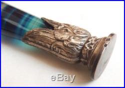 Sceau cachet Argent massif et agate bleue Art Nouveau 1900 silver seal
