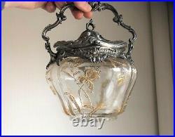 Seau à Biscuit Art Nouveau Cristal Décor Iris Métal Argenté VICTOR SAGLIER 1900