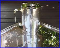 Service A Cafe Et The Epoque Moderniste 4 Pieces En Metal Argente Annees 1960
