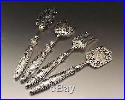 Service A Hors D'oeuvres Art Nouveau 4 Pieces Argent Et Metal Argente Vers 1900