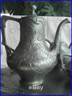 Service Art Nouveau à thé et café en métal argenté WMF Régule étain Jugendstil