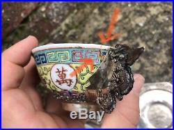 Service En Argent Massif Et Porcelaine -chine Indochine XIX XX Chinese Antique