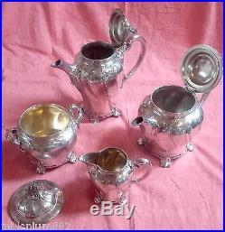 Service à Café et à Thé, GALLIA / CHRISTOFLE métal argenté ART NOUVEAU, N° 5012