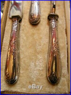 Service à Découper 3 Pièces Art Nouveau Argent Massif Silver Silber Décor de Gui