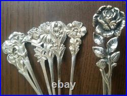Service à Dessert en argent massif art nouveau (floral) Minerve et 800