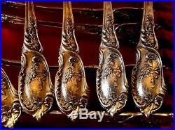 Service à dessert, Magnifiques cuillères en argent massif ART Nouveau, Rocaille