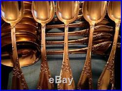 Service à dessert, Magnifiques cuillères en argent massif Vermeil, ART Nouveau