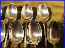 Service à thé 13p métal argenté st russe Fresnais 12 tea spoons, sugar tongs