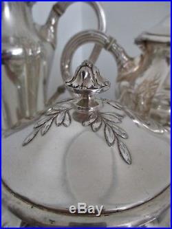 Service à thé et café 4 pièces métal argenté Gallia Art nouveau Era Christofle