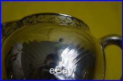 Service à thé et café 4 pièces métal argenté Gallia Art nouveau décor de trèfles