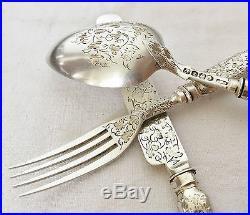Service de Naissance Coffret Couverts Argent Massif Poinçon Couteau Art Nouveau