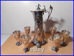Service liqueur métal argenté art nouveau décor pampre feuille vigne jugendstil