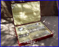 Sfam Chambly Menagere 38 Pieces En Metal Argente Style Louis XV Fleuri Debut Xx°