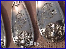 Six fourchettes à escargots argent massif décor coquille monogrammes Art Nouveau