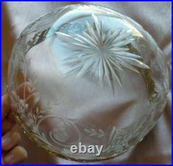 Somptueux saladier cristal taillé & gravé + cerclage argent massif doré Vermeil