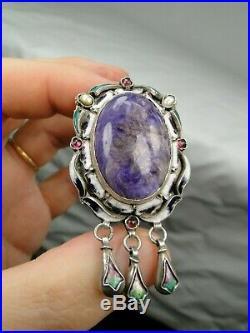 Splendide Broche Russe Argent Art Nouveau 1900 Email Perles Grenats Lazulite