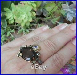 Splendide bague ancienne Art Nouveau argent or quartz fumé améthyste