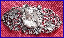 Splendide boucle de ceinture ancienne Art Nouveau argent signé