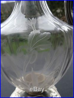 Splendide et rare aiguière en cristal et argent massif, décor D'iris, art nouveau