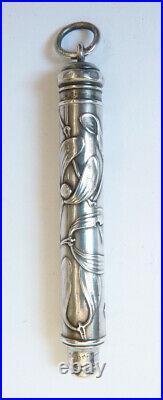Stylo porte-mine en argent massif silver pen ART NOUVEAU vers 1900 gui mistletoe