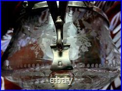 Sublime Grand sucrier en argent massif et en cristal gravé à la main, Art Nouveau