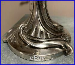 Sublime paire de chandelier époque Art Nouveau en bronze argenté d'apres Guimard