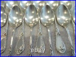 Superbe 12 cuillères à café métal argenté art nouveau Saglier coffee spoons
