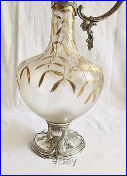 Superbe Aiguière Art Nouveau Métal Argenté Verre Émaillé Décor GUI Carafe Legras