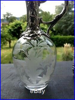 Superbe Aiguière, service à liqueur ART NOUVEAU, cristal taillé et métal argenté