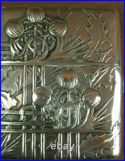 Superbe Boite Etui A Cigarette En Argent Massif Art Nouveau 1900 Jugendstil