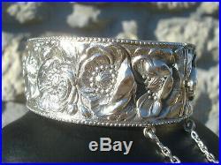 Superbe Bracelet Ancien En Argent/fleurs De Pavot/art Nouveau/45.5 Gr
