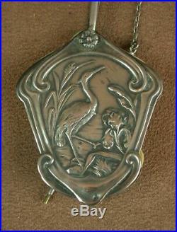 Superbe Carnet De Bal Pendentif Chatelaine Art Nouveau En Argent Massif Iris
