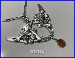 Superbe Collier chaîne et pendentif Art Nouveau argent massif