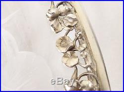 Superbe Coupe Art Nouveau Cristal Taillé Monture Argent Massif Poinçon Minerve