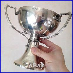 Superbe Coupe Trophée Argent Massif Art nouveau Jugendstil Poinçon Lion 671g