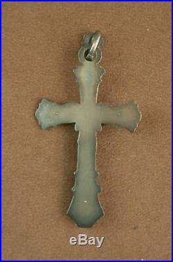 Superbe Crucifix Grande Croix Pectorale En Argent Massif Art Nouveau