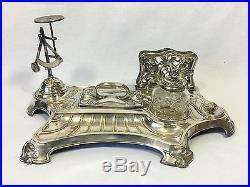 Superbe Necessaire De Bureau / Encrier Epoque Art Nouveau En Metal Argente