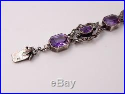 Superbe ancien bracelet en argent marcassites et améthystes Art Nouveau