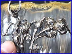 Superbe art nouveau verrerie panier argent jugendstil glass silver basket 1900