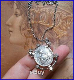 Superbe collier régional ancien Art Nouveau 1900 1920 argent or rose portrait