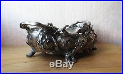 Superbe coupe à fruits jardinière en bronze argenté à décor d'iris Art Nouveau