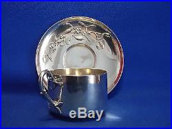 Tasse A The Et Sous Tasse En Argent Massif Poincon Minerve Decor Gui Art Nouveau