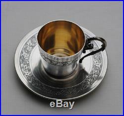 TASSE EN ARGENT MASSIF ART NOUVEAU FLEURS Sterling Silver Cup & Saucer