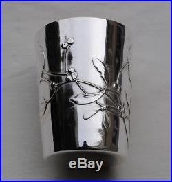 TIMBALE EN ARGENT MASSIF ART NOUVEAU GUI Sterling Silver Wine Cup Mistletoe