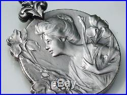 TRES BEAU PENDENTIF ANCIEN 1900 ART NOUVEAU en ARGENT Signé E. DROPSY / Dt 2,8cm